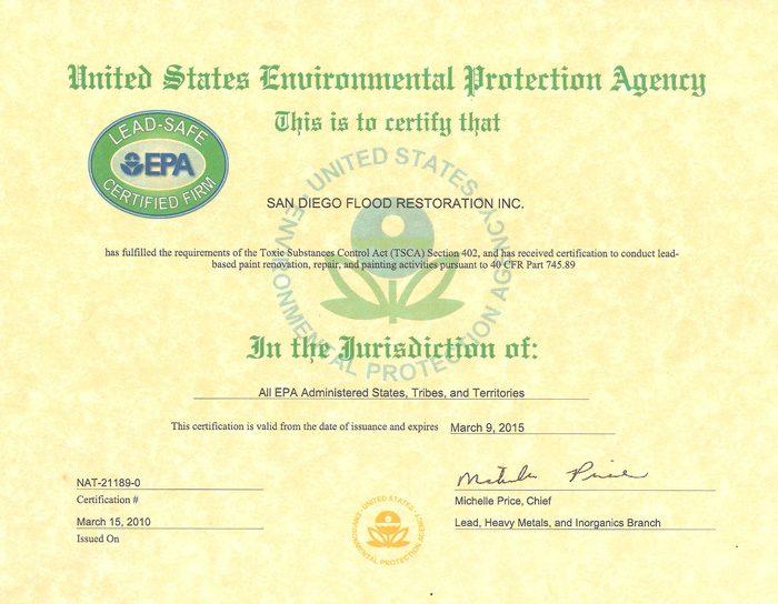 Lead Safe Epa Certification San Diego Flood Restoration Inc
