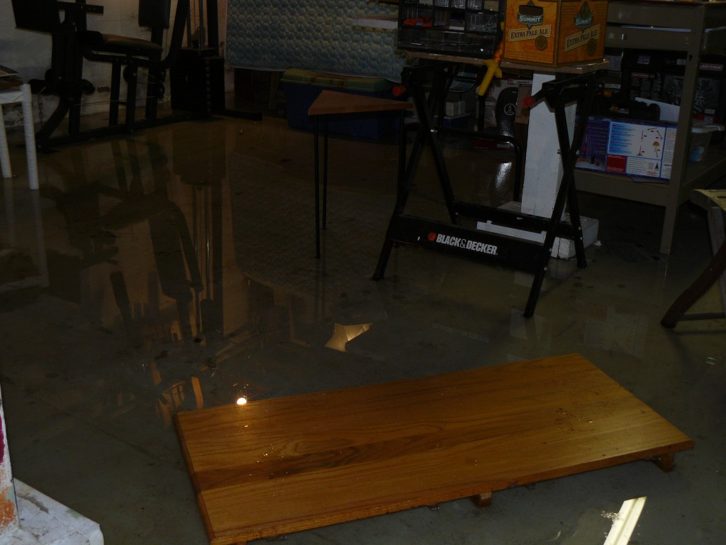 Flooded basement clean up